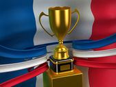French Republic flag with gold cup — Stock Photo
