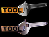 Tool label with wrench — Stock Photo