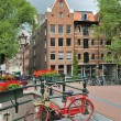 Amsterdam. Bridge over  canal Brouwersgracht — Stock Photo