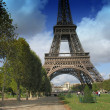 Eiffel Tower with Clouds from Champs de Mars in Paris — Stock Photo