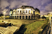 Colors of Colosseum at Night in Rome — Stock Photo