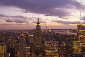 Sunset over New York City Skyscrapers — Stok fotoğraf