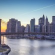 Lights of New York City and Brooklyn Bridge at Sunset — Stock Photo #10362133