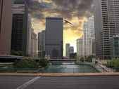 Chicago Skyscrapers over the River, U.S.A. — Stock Photo