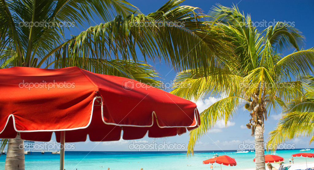 Red Beach Umbrellas and turquoise Waters of Caribbean, Grand Turk  Stock Photo #10607180
