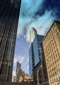 Upward view of New York City Skyscrapers — Stock Photo