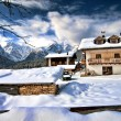 Snow on the Dolomites Mountains, Italy — Stockfoto