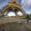 Beautiful photo of the Eiffel tower in Paris with gorgeous sky c - Stock Photo