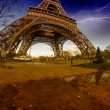 Storm and Lightnings above Eiffel Tower - Stock Photo
