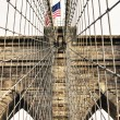 Stock Photo: Architectural Detail of Brooklyn Bridge in New York City