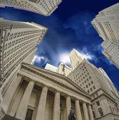 Upward Wide Angle View of Manhattan Skyscrapers — Stock Photo
