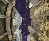 Upward view of Manhattan Skyscrapers in the Night — Stock Photo