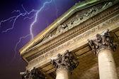 Eglise Notre Dame de Lorette with Lightning in Paris — Stock Photo
