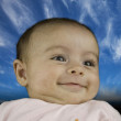 Baby Face with Sky Background — Stock Photo