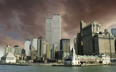 Colors over New York City and WTC — Stock Photo