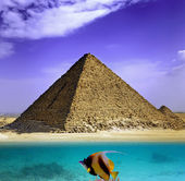 Water and Pyramids, Egypt — Stock Photo