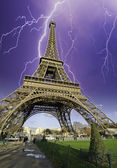 Storm and Lightnings over Eiffel Tower — Stock Photo