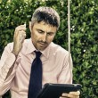 Stock Photo: Manager working Outdoor