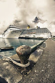Anchored Cruise Ship in a Port of Call — Stock Photo