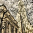 New York Public Library and Surrounding Skyscrapers — Stock Photo