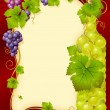 Stock Vector: Vector grape frame with bottle