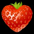 Strawberry in the shape of heart - Stock Vector