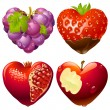 Shape of heart set 2. Strawberry, grapes, pomegranate and apple — Imagens vectoriais em stock