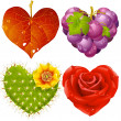 Shape of heart set 3. Fall leaf, grapes, cactus and rose — Stockvektor