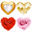 Shape of heart set 4. Golden jewellery and roses — Stock Vector #10024787