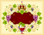 Grape frame with crown — Stock Vector