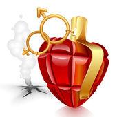 手榴弾の心。失われた女性 — ストックベクタ