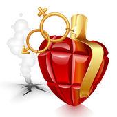 Grenade heart. Male lost — Stock Vector