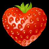 Strawberry in the shape of heart — Stockvector
