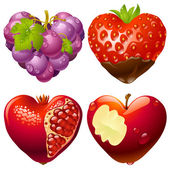 Shape of heart set 2. Strawberry, grapes, pomegranate and apple — Stock Vector