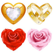 Shape of heart set 4. Golden jewellery and roses — Stock Vector