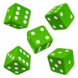 Green dice set. Vector icon — Stock Vector