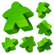 Green wooden Meeple vector set isolated on white. Symbol of family board games. - Stock Vector