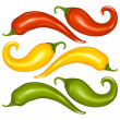Hot chilli pepper vector set isolated on white background. Red, yellow and green. - Stock Vector