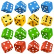 Game dice set. Vector red, yellow, green and blue icons. — Stock Vector #10555192