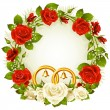 Vector de stock : Flower frame. Vector white and red rose and golden wedding rings.