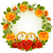 Vector de stock : Red and orange rose circle wedding frame.