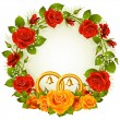 Red and orange rose circle wedding frame. — Stockvector