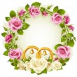 White and pink rose circle wedding frame. — Stock Vector