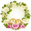 White and pink rose circle wedding frame. — Stockvector