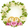 White and pink rose circle wedding frame. — ストックベクタ