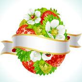 Wektor wielkanoc jajko z truskawek i kwiaty — Wektor stockowy