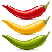 Hot chilli pepper vector set isolated on white background. Red, yellow and green. — Stock Vector