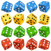 Game dice set. Vector red, yellow, green and blue icons. — Stock Vector