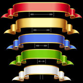 Ribbon set with adjusting length. Vector frame isolated on background. — Stock Vector
