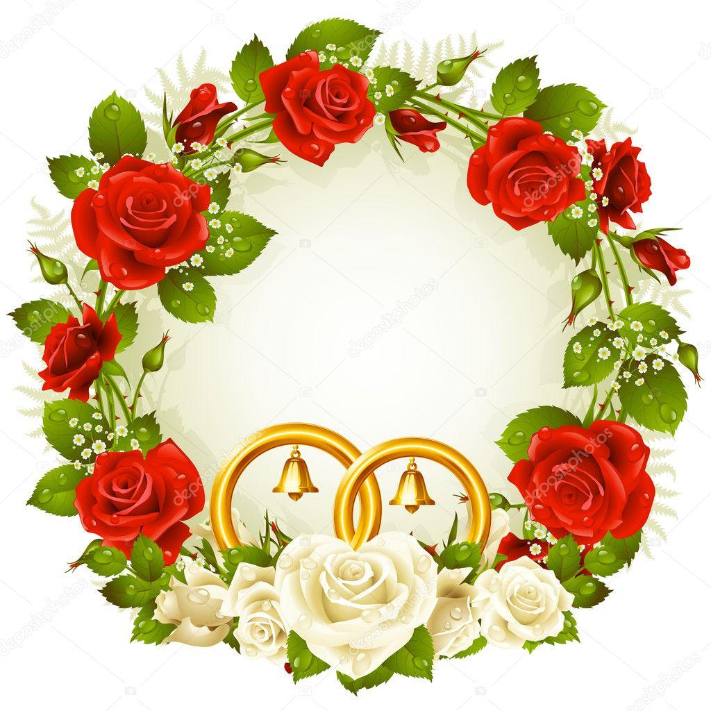 Télécharger - Cadre de fleur. vecteur des anneaux de mariage rose et ...